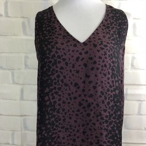 VINCE Silk Animal Print Blouse Sleeveless Tunic L